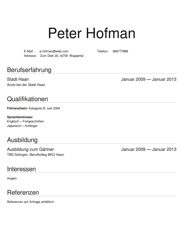 curriculum vitae po niemiecku wzór